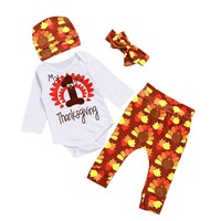 4Pcs Baby Thanksgiving Outfits Set