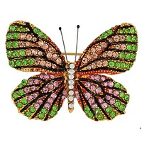 Green And Pink Butterfly Jeweled Gold Bar Pin