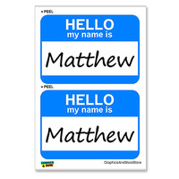 Matthew Hello My Name Is - Sheet of 2 Stickers