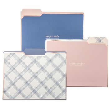 Blue Plaid File Folder Set in Pink and Blue Checkered