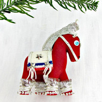 Vintage Christmas Ornament, Show Horse Ornament, Red Velvet Beaded Ornament, Christmas Tree Ornament, 1960s Christmas Gift for Horse Lover