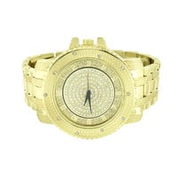 Yellow Gold Finish Watch Simulated Diamonds Metal Bracelet Band Water Resistant