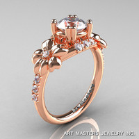 Nature Inspired 14K Rose Gold 1.0 Ct Russian CZ Diamond Leaf and Vine Engagement Ring R245-14KRGDCZ
