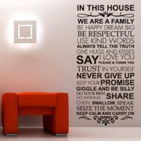 House Rules Family love Large wall stickers quotes decals home lettering art sayings decor