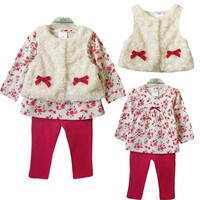 Retail 2016 new style baby girl's set spring autumn winter clothing set tops+pans+vest kids clothes sets baby girl clothes