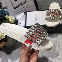 ❤shosouvenir❤ Gucci Casual Fashion Women Sandal With crystals Slipper Shoes