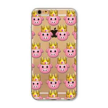Facebook King Pig Crown Emoji Collage Painted Soft TPU Silicon Cases CoverCase For Apple iPhone 4 4S 5 5S SE 5C 6 6S 6 Plus 6S Plus