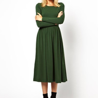 Long Sleeve Shirtwaist A-Line Pleated Midi Knit Dress