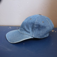 Vintage 1980s / 1990s Blue Jean / Denim baseball Hat Grunge Hipster Hippie Adjustable Cap Unisex