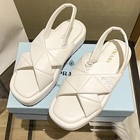 Prada solid color sewing thread leather platform sandals beach slippers Shoes