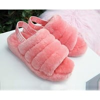 """""""UGG"""" Winter High Quality Autumn Winter Popular Women Cute Fluff Yeah Slippers Shoes Rose Red I/A"""