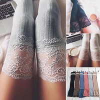 Women Knitting Lace Cotton Over Knee Thigh Stockings High Pantyhose Tights Stockings