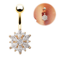 Stainless Steel Crystal Rhinestone Belly Button Ring