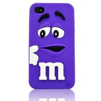 SaveGood 3D Cute Purple Cartoon Mouth-open M & M's Chocolate Candies Style Fragrant Soft Silicone Case Cover for iphone 4 4s 4g