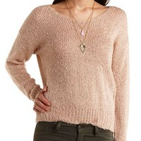 Fuzzy Slub Knit Pullover Sweater by Charlotte Russe