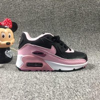 Nike Air Max 90 Child Shoes Black White Pink Toddler Kid Shoes - Best Deal Online
