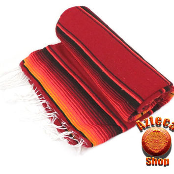 """Mexican Serape Blanket XL Sunset Red 82"""" x 60"""""""