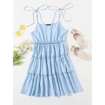 SHEIN Tie Shoulder Layered Frilled Allover Plants Cami Dress