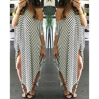 Black & White Striped Swimsuit Cover Up