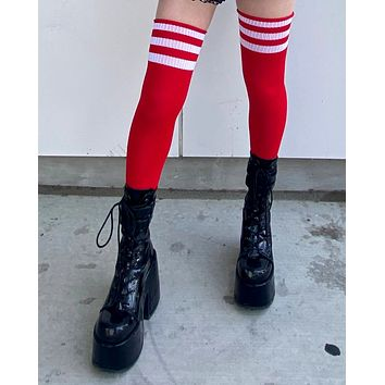 Red and White 3 Stripe Thigh High Socks