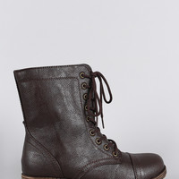 Bamboo Round Toe Lace Up Lug Sole Combat Ankle Boots