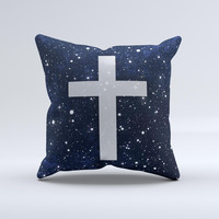 Vector White Cross v2 over Bright Starry Sky  Ink-Fuzed Decorative Throw Pillow