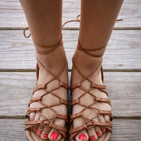 Grecian Goddess Tan Wrap Sandals