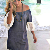 Catamaran Cruise Off The Shoulder Gray Denim Lace Bell Sleeve Dress