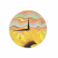 """Suzanne Carter """"Sunflower Dreaming """" Yelllow Teal Wall Clock"""
