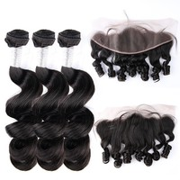 Peruvian Human Hair Loose Wave Remy Weave Bundles With Free Part Pre Plucked 13x4 Lace Frontal Closure