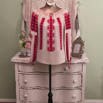 20s 30s VTG Peasant Top, Ornate Embroidered, Bohemian Blouse, S/M/L, Long Sleeve Petit Point Blouse, Boho Gypsy, Scoop Neck Cheese Cloth Top