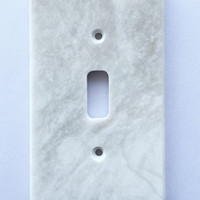 White Marble (Meram Blanc) Single Toggle Switch Wall Plate / Switch Plate / Cover - Polished
