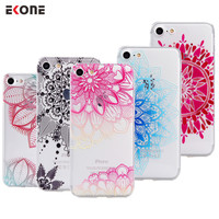 EKONE Phone Case For iPhone 5S Case 6 6S 6Plus 7 7Plus Vintage Mandala Henna For iPhone 6S Case iPhone 7 Plus Girl Back Cover