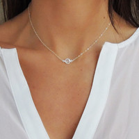Fashion Womens Pearl Sequins Necklace Choker +Gift Box