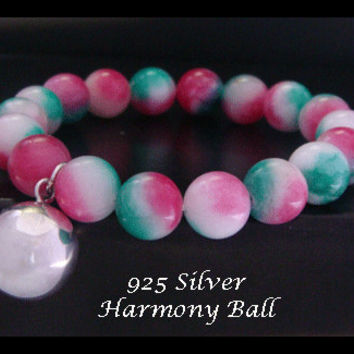 Harmony Ball Bracelet with Candy Jade Gemstone Beads and 925 Sterling Silver Harmony Ball | Harmony Ball Bracelet 012 with Candy Jade Beads