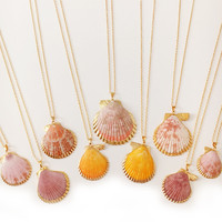 Gold Dipped Seashell Long Necklace
