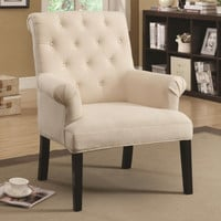 Accent Seating Rolled Back Chair with Button Tufts