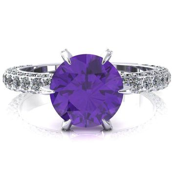 Vanessa Round Amethyst 6 Claw Prongs 3/4 Pavé Eternity Engagement Ring