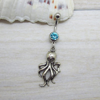 Antique silver octopus belly button ring ,octopus charm, navel piercing, belly button ring jewelry,unique gift