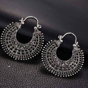 Patina Silver Crescent Hoop Earrings