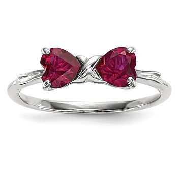 14k White Gold Polished Created Ruby Bow Ring