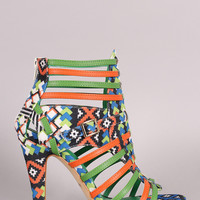 Tribal Print Strappy Buckled Open Toe Heel