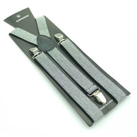 "Unisex Men/Women Silver Glitter 1"" Clip-on Braces Elastic Suspenders"