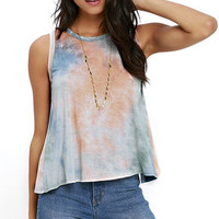 From Here to There Peach and Blue Tie-Dye Top