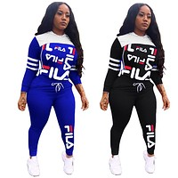 FILA Women's Sports Hooded Letter Print Splicing Two Piece Set