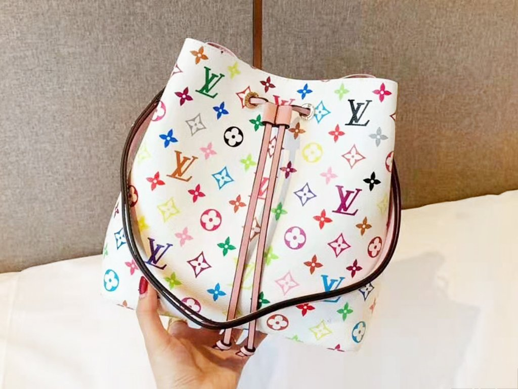 Image of LV fashion hot selling casual lady color printed flower bucket shoulder bag