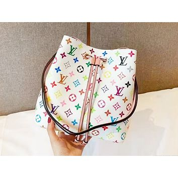 LV fashion hot selling casual lady color printed flower bucket shoulder bag