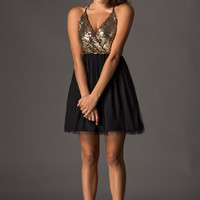 Kelly Black and Gold Sequin Tulle Dress