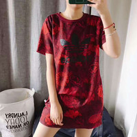 Adidas fashion women Camouflage red long T-shirt top H-YF-MLBKS