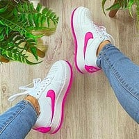 Nike Air Force 1 AF1 JESTER Transformed Crooked Sneakers Flat Shoes Pink hook